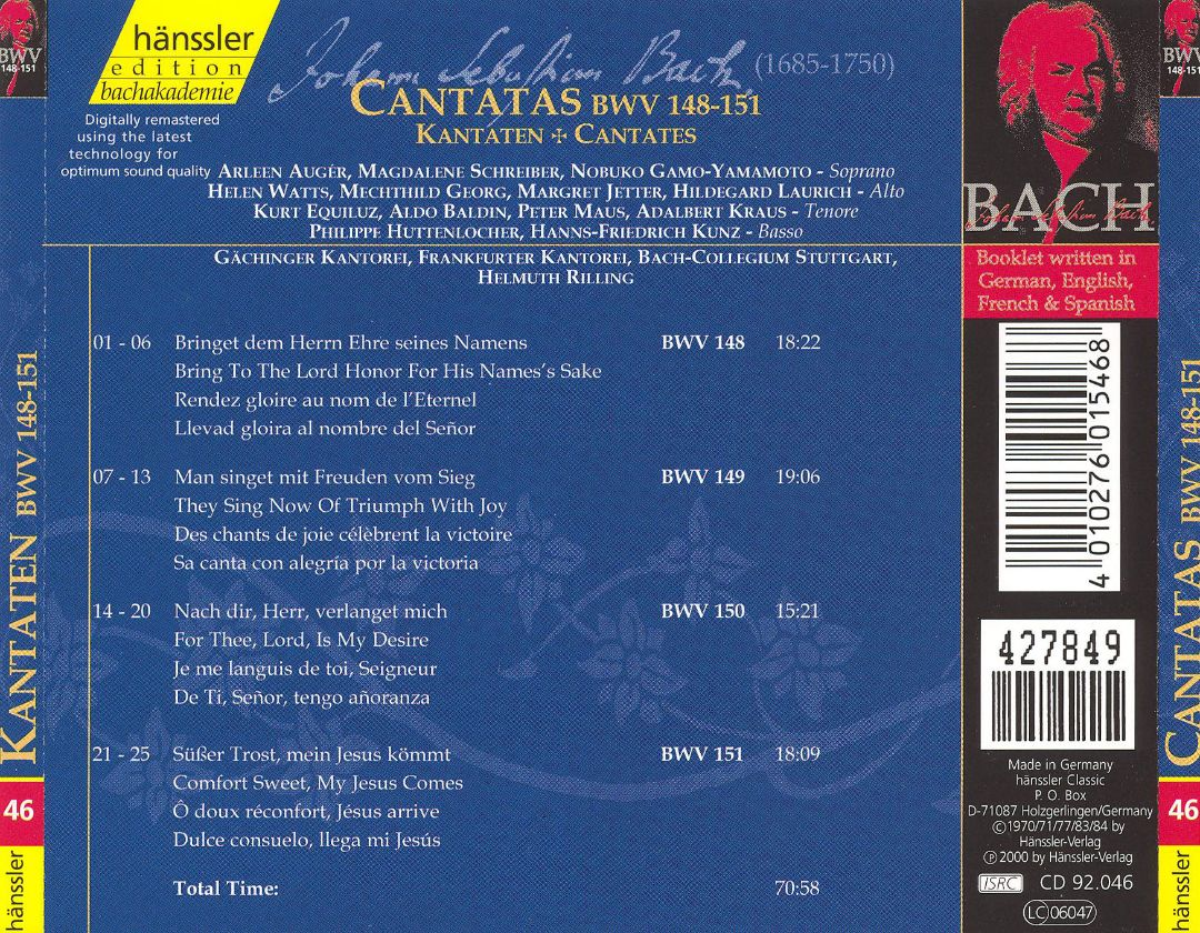 Cantata BWV 149 - Details & Discography Part 1: Complete